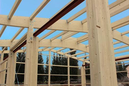Der Trend geht hin zu noch mehr Natur: Nicht nur die Dachbinder, auch die eingespannten Stützen werden zunehmend aus BS-Holz gebaut. Dies bietet nicht nur ökologische und ästhetische Vorteile, sondern auch wirtschaftliche