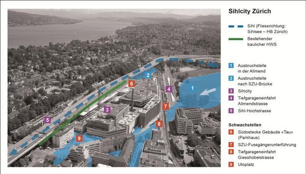 Abbildung 1: Visualisierung der Hochwassersituation am Sihlcity mit Überflutungsflächen (blau) und den Schwachstellen (rot). Die Sihl verläuft im Bereich Sihlcity unter der Sihl-Hochstrasse (Nr. 5). Der direkt an die Sihl grenzende Bereich von Sihlcity wurde bereits beim Bau des Komplexes baulich gegen das Hochwasser geschützt (grün)
