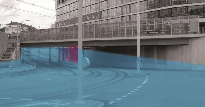 Abbildung 2: Die Unterführung Giesshübelstrasse wird während eines Hochwassers komplett geflutet. Auf der rechten Seite befindet sich die Tiefgaragenzufahrt ins Sihlcity (rot)