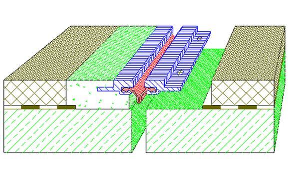 Coupe transversale d'un joint RE avec béton polymère       Coupe transversale d'un joint RE avec béton polymère