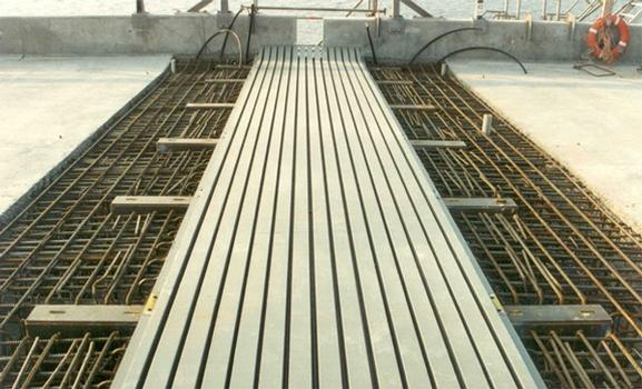 Modular Expansion Joint brought to level shortly before filling the recess with concrete