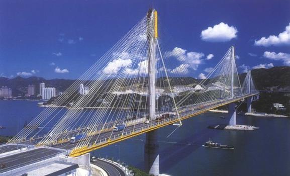 Schrägseilbrücke ausgerüstet mit mageba Pendellager (Rocker Bearing)