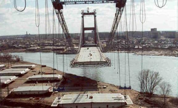 Hängebrücke ausgerüstet mit mageba Horizontalkraftlager (Wind Shoe)