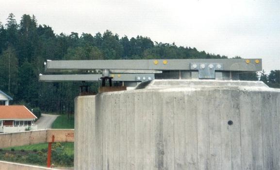 2 appuis pour poussage de pont avec patins en caoutchouc