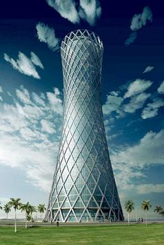 "The ""Tornado Tower"" in daylight. The rhombic steel frame and floor-to-ceiling glazing give the tower its distinctive appearance"