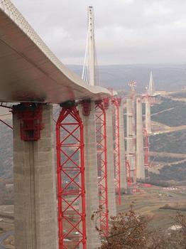 Sur chaque pilier en béton et sur chaque palée provisoire, les systèmes de lancement hydraulique Enerpac sont installés pour pousser le tablier du viaduc dans l'espace