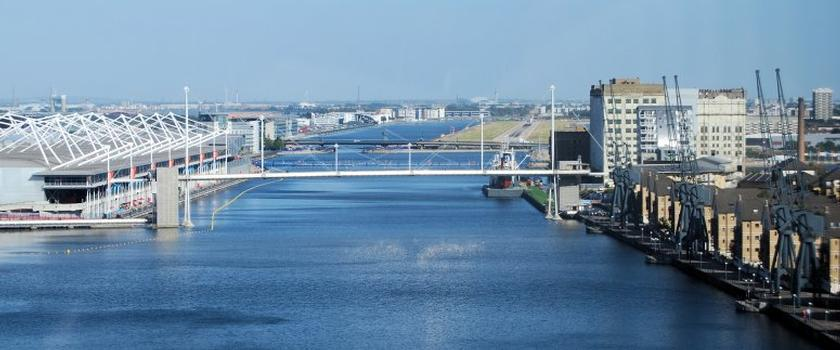 Royal Victoria Dock as viewed from Emirates Air Line with London City Airport in the distance