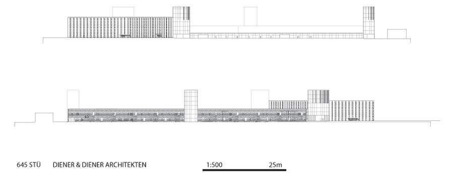 oben: Ostfassade (Hotel und Büros), unten: Westfassade
