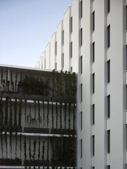 """Das """"Pflanzenregal"""" stößt im Süden an die Hotel-und Bürofassade"""