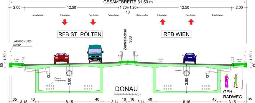 Donaubrücke Traismauer - Regelquerschnitt Strombrücke