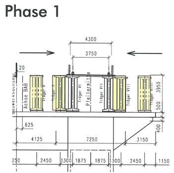 Windelbachtalbrücke - Bauablauf - Phase 1: ; Einrichtung 4+0 Verkehr; Abbruch Fahrbahnplatte der Außenträger; Querverschub der äußeren Längsträger an die Mittelträger; Sanierung Pfeilerkopf in den äußeren Teilbereichen (1. Teilabschnitt); Einrichtung Schienensystem auf Mittelbereich