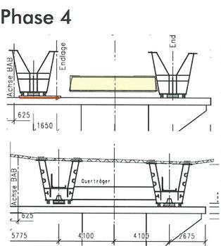 Windelbachtalbrücke - Bauablauf - Phase 4: ; Einbau der Pfeilerquerträger; Querverschub der Stahlkästen in ihre Endlage; Verschweißen der Pfeilerquerträger mit den Längsträgern; Verlegen der Halbfertigteile auf den Stahlträgern; Bewehren und Betonieren der Fahrbahnplatte; Korrosionsschutzarbeiten und Ausbau; Verkehrsumlegung 4+0 auf neuen Überbau
