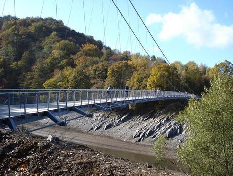 Die Wahl einer Hängebrücke, die in der Tragkonstruktion wesentlich nur aus vier Seilen besteht ist die filigranste Möglichkeit der Urftseequerung