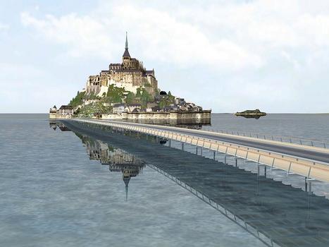 So soll der Mont-Saint-Michel 2015 aussehen: An die Stelle des heutigen Straßendamms und Parkplatzes tritt eine elegante Stelzenbrücke, die auf Rohren von Vallourec & Mannesmann Tubes steht