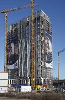 Behind Berlin Central Station, the new headquarters of the French petroleum corporation Total are being built