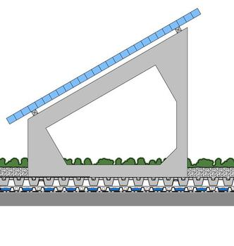 ZinCo-Systemaufbau SolarVert: Solargrundrahmen SGR 35/90, Pflanzenmatten Sedumteppich, Systemerde Sedumteppich, Solarbasis SB® 200, Fixodrain® XD 20 und Dachaufbau mit wurzelfester Dachabdichtung