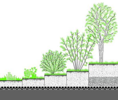 Statische Auflast beachten: Während eine Extensivbegrünung mit ca. 100 kg/m² nicht schwerer als ein üblicher Kiesbelag ist, erreichen Intensivbegrünungen je nach Substratstärke und Pflanzenwahl ein Mehrfaches davon