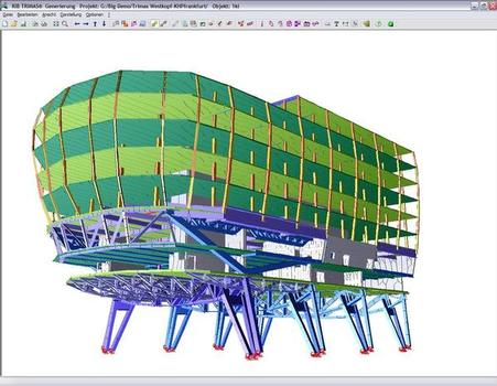 As a view of this area on equivalent 2D systems would have led to major uncertainties in the analysis of the results, a 3D model of the western end of the building was created, including all suspended floors, girders, cores and supports
