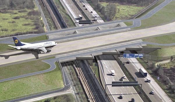 Weltneuheit im Infrastrukturbau: Die hoch komplexen, integralen Brückenbauwerke über Schiene und Autobahn bei deren Planung die neueste Version des RIB-Systems PONTIbetonverbund zum Einsatz kam