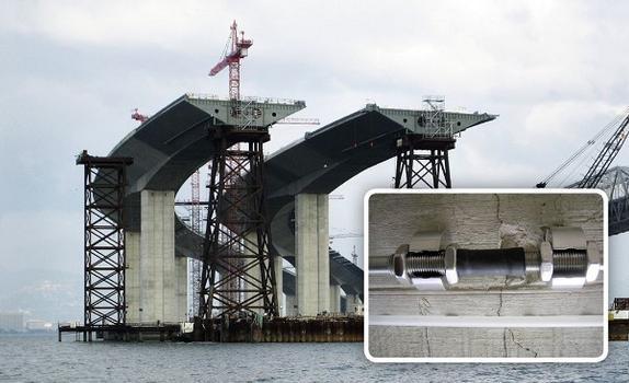 Strukturüberwachung an Brücken, in der Bauphase (Ausschnitt oben: Mountable FBG-Strain Sensor MS-01, Ausschnitt unten: FBG-Strain Cable SC-01),…