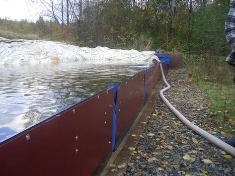 Semipermanente aufklappbare 120 cm hohe Hochwasserschutzwand – schnell und einfach aufzubauen