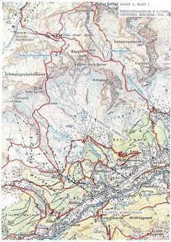 Lageplam mit Kappl, dem Diasbach und dem Einzugsgebiet, ÖK-Karte, BEV