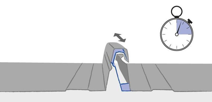 Die Einrastmechanik mittels Kraftschluss spart Zeit und sorgt für eine dauerhafte Profilbahnverbindung. Gleichzeitig werden Spannungen im Profilbahnsteg und Montagefehler durch Zeitdruck und unsachgemäße Verarbeitung ausgeschlossen