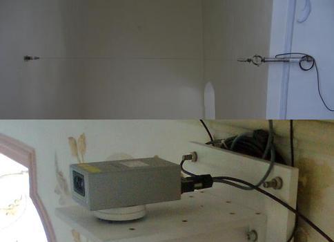 Distanzmesssysteme mit Konvergenzdraht (oben) und Lasermessung (unten)