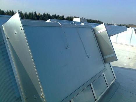Detail der Shedkonstruktionen mit Windleitführungen