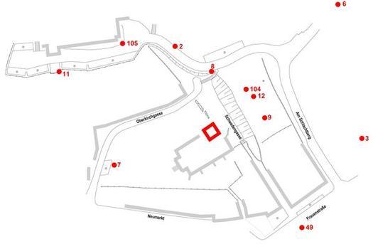 Festpunkte des Basisnetzes im Bereich der Oberkirche Bad Frankenhausen