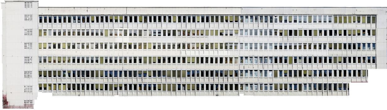 Ultrahochauflösende digitale 2D-Fassadenrekonstruktion auf Grundlage mehrerer hundert Luftbildaufnahmen einer Gebäudefassade (Originalfassade: 1.700 m²)