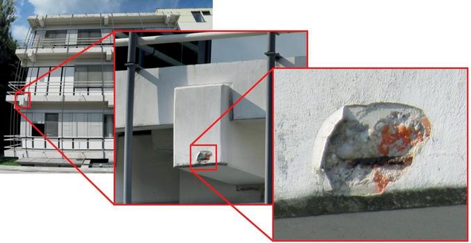 Prinzip der punktuellen Schadensbegutachtung ausgehend von großflächigen Gebäudescans