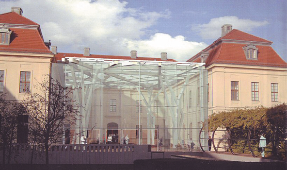 """Der neue """"Glashof"""" des Jüdischen Museums Berlin nach seiner Fertigstellung im Sommer 2007 als Fotomontage"""