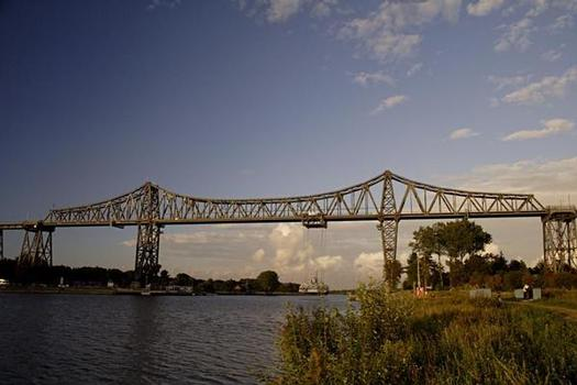 The historical railway viaduct in Rendsburg, Germany