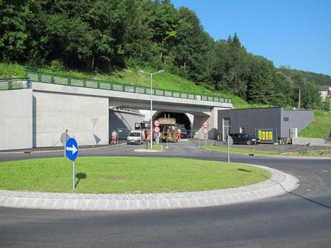 In die Landschaft eingebettetes Tunnelbauwerk