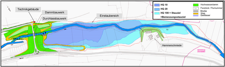 Lageplan des HRB Glatt/Hammerschmiede