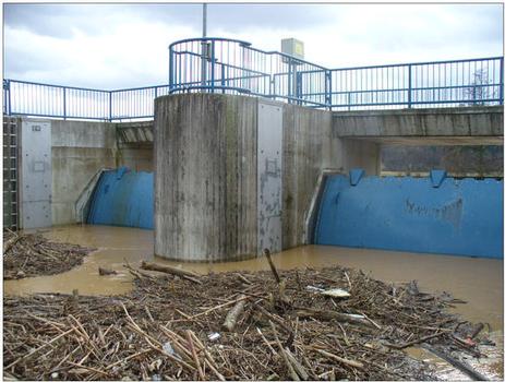 Einstau des HRB Waibstadt/Schwarzbach (W18) beim Hochwasser am 1.3.2008