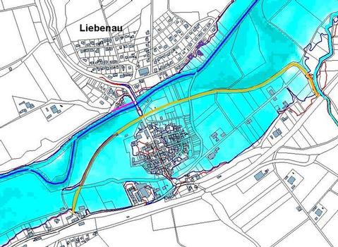 Überschwemmungen bei einem hundertjährlichen Hochwasser mit vorgeschlagenem Schutzdeich für die Stadt Liebenau