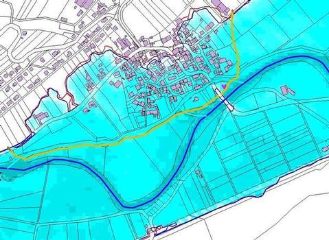 Überschwemmungen bei einem hundertjährlichen Hochwasser mit vorgeschlagenem Schutzdeich für die Ortslage Trendelburg-Eberschütz