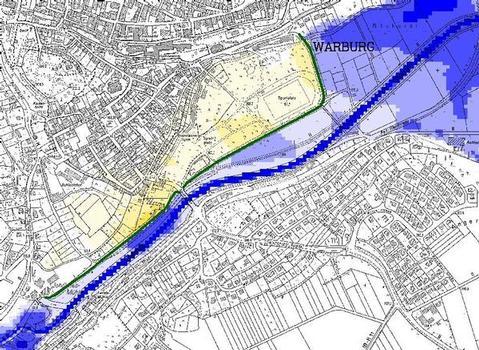 Überschwemmungs- und Gefährdungsgebiet bei einem hundertjährlichen Hochwasser für die Stadt Warburg