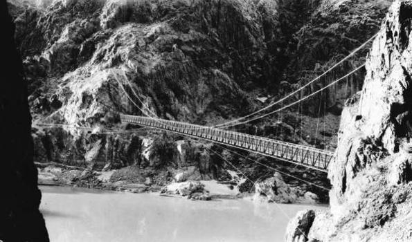 Kaibab Trail Suspension Bridge  View of completed bridge looking toward north abutment   (HAER, ARIZ,3-GRACAN,3-1)
