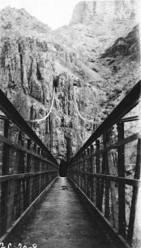Kaibab Trail Suspension Bridge  View looking along bridge toward tunnel of south approach. Main cable tunnels also shown   (HAER, ARIZ,3-GRACAN,3-3)