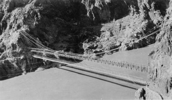 Kaibab Trail Suspension Bridge  New steel bridge completed assembled. Old bridge below. U.s.g.s. gaging station in right background. View looking northeast   (HAER, ARIZ,3-GRACAN,3-26)