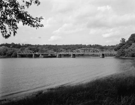 Rocks Village Bridge : General view from south river bank, looking northeast  (HAER, MASS,5-HAV,9-1)