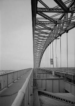 Bayonne Bridge. Detail showing walkway and suspender cables where they join deck beams.   (HAER, NJ,9-BAYO,1-6)