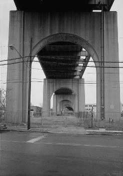 Bayonne Bridge. Detail showing concrete support arched, looking north.   (HAER, NJ,9-BAYO,1-10)