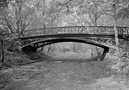 Central Park Bridges, Bridge No. 27 View from bridlepath looking west showing east elevation (HAER, NY,31-NEYO,153D-1)