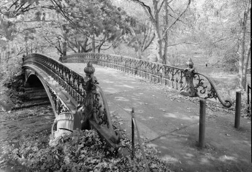 Central Park Bridges, Bridge No. 27 Three-quarter view from deck level looking southwest (HAER, NY,31-NEYO,153D-2)