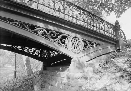 Central Park Bridges, Bridge No. 27 View from bridlepath looking west showing detail of cast iron spandrel (HAER, NY,31-NEYO,153D-3)