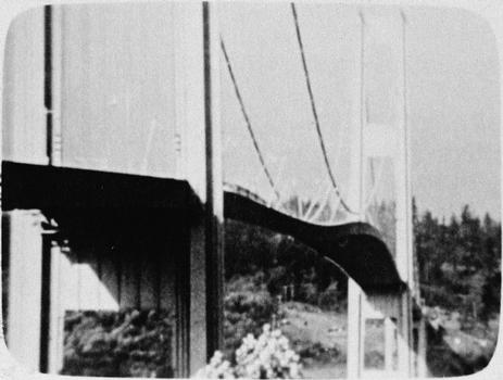 "Vertical oscillations, 3/4 view, 7 November 1940, from 16mm film shot by Professor F. B. Farquharson, University of Washington. (""Laboratory studies on the Tacoma Narrows Bridge, at University of Washington"" [Seattle: University of Washington, Department of Civil Engineering, 1941]) (HAER WA-99-32)"